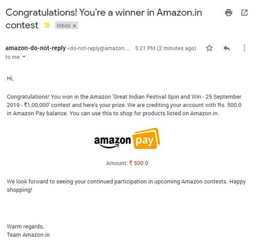Amazon Quiz Prize Proof