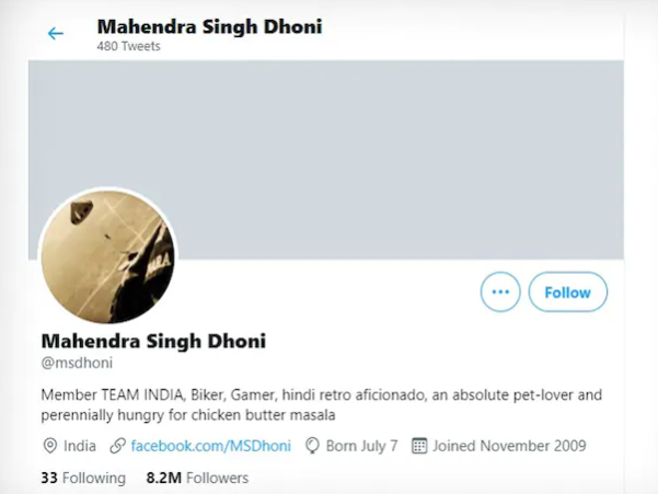Twitter has removed the blue tick from MS Dhoni's Account